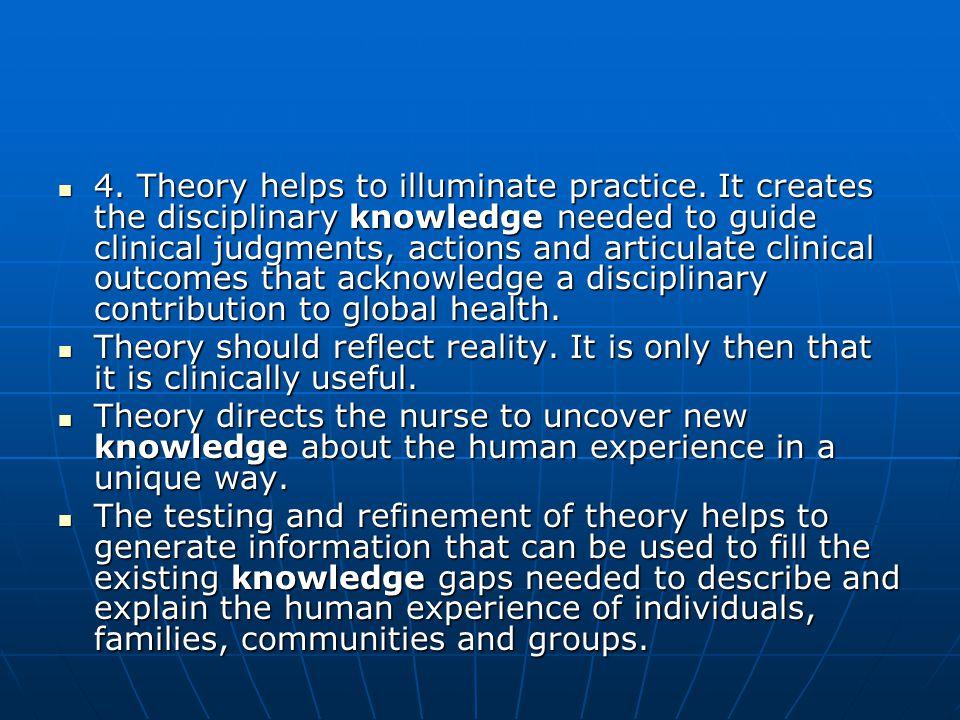 4. Theory helps to illuminate practice.