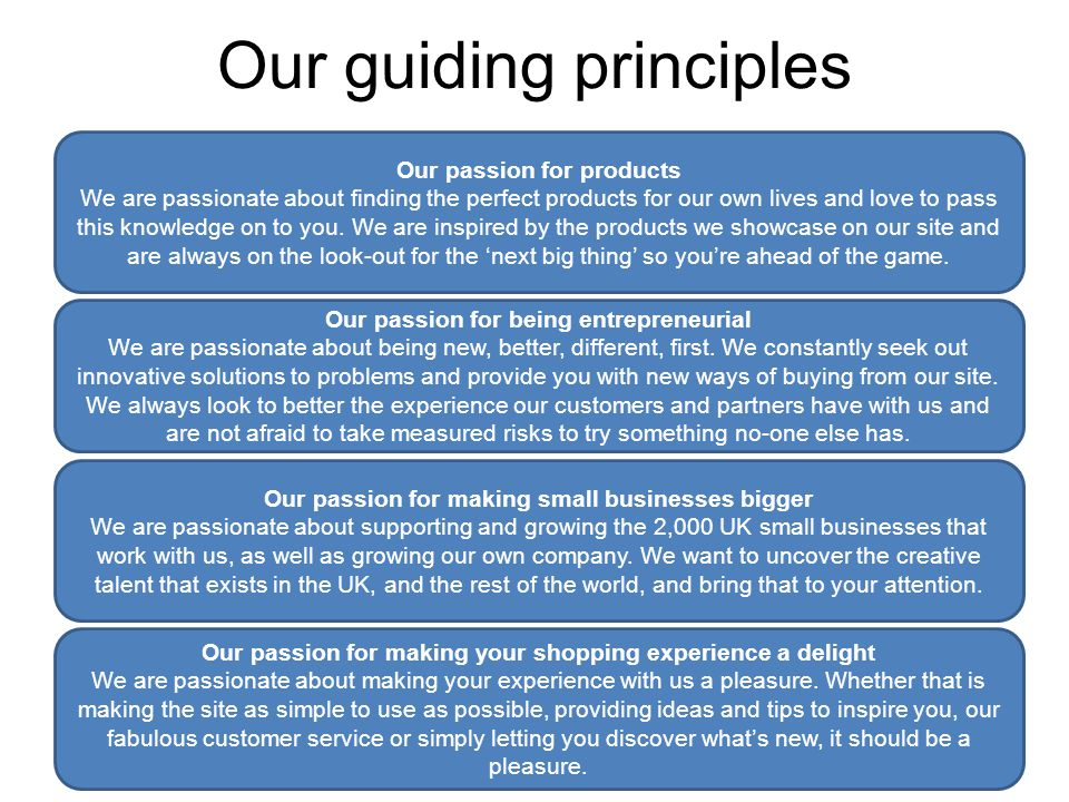 Our guiding principles Our passion for being entrepreneurial We are passionate about being new, better, different, first. We constantly seek out innov