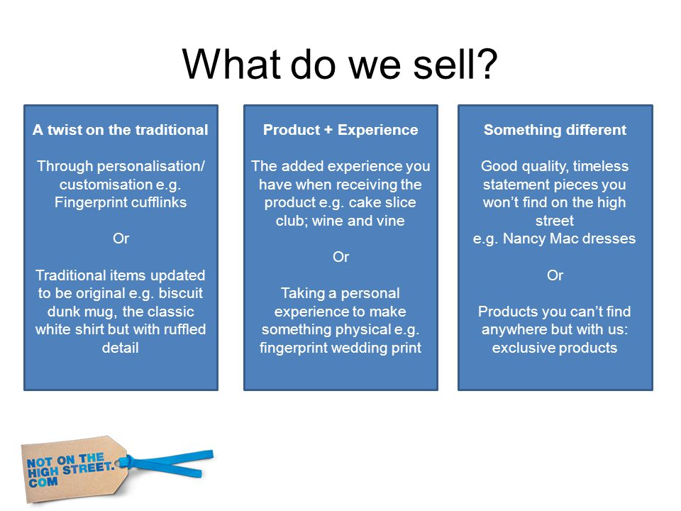 What do we sell. A twist on the traditional Through personalisation/ customisation e.g.