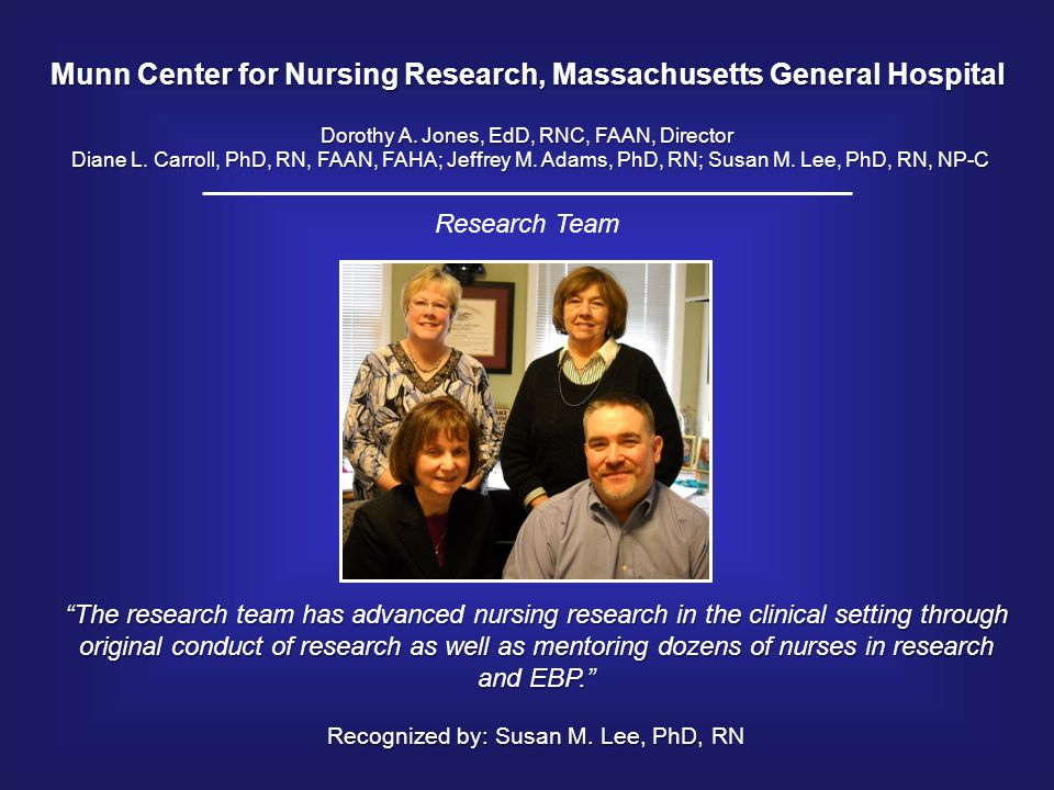 Munn Center for Nursing Research, Massachusetts General Hospital Dorothy A. Jones, EdD, RNC, FAAN, Director Diane L. Carroll, PhD, RN, FAAN, FAHA; Jef