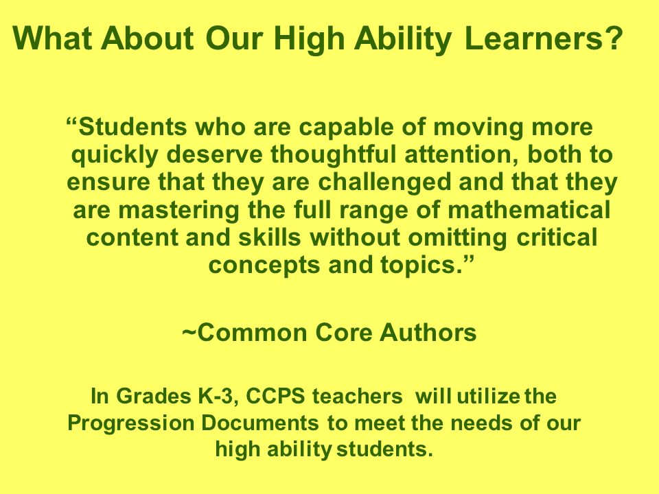 What About Our High Ability Learners.