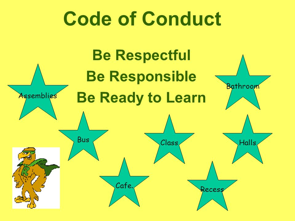 Code of Conduct Be Respectful Be Responsible Be Ready to Learn Bus Bathroom Halls Class Cafe.