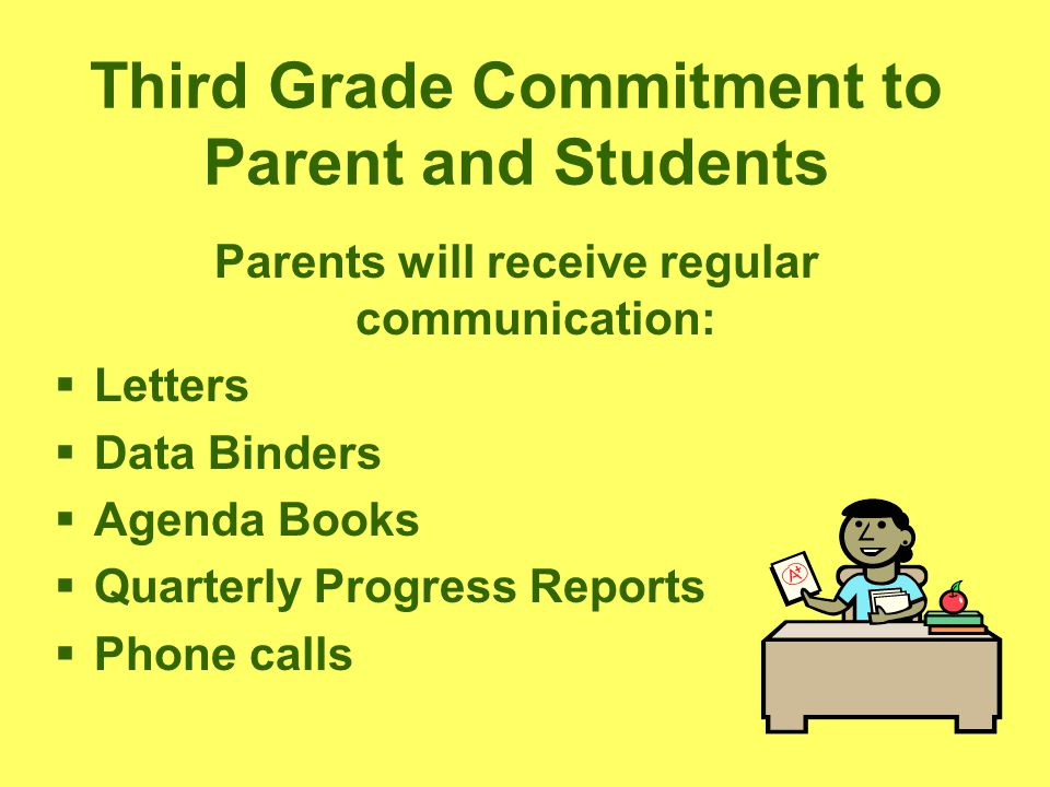 Third Grade Commitment to Parent and Students Parents will receive regular communication:  Letters  Data Binders  Agenda Books  Quarterly Progress Reports  Phone calls