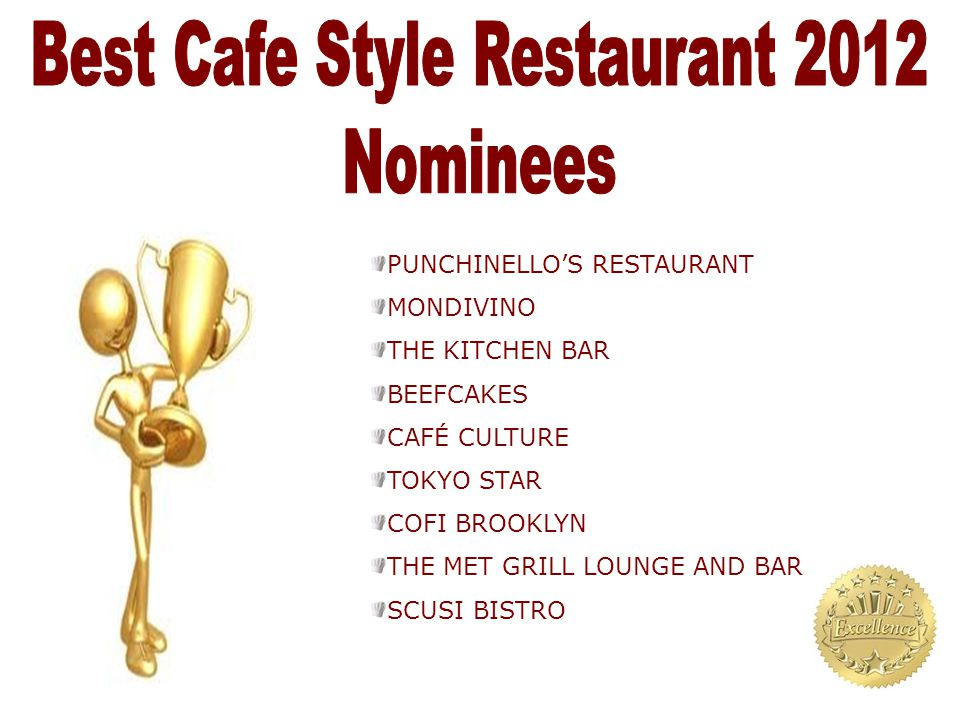 PUNCHINELLO'S RESTAURANT MONDIVINO THE KITCHEN BAR BEEFCAKES CAFÉ CULTURE TOKYO STAR COFI BROOKLYN THE MET GRILL LOUNGE AND BAR SCUSI BISTRO