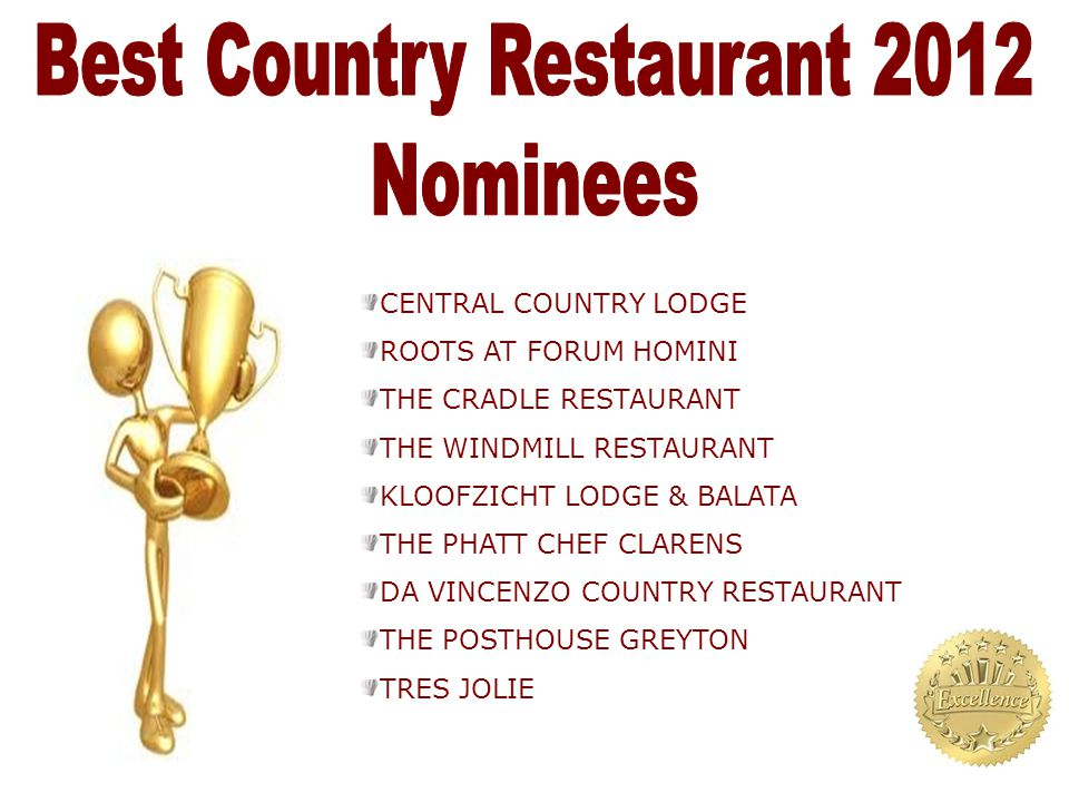 CENTRAL COUNTRY LODGE ROOTS AT FORUM HOMINI THE CRADLE RESTAURANT THE WINDMILL RESTAURANT KLOOFZICHT LODGE & BALATA THE PHATT CHEF CLARENS DA VINCENZO COUNTRY RESTAURANT THE POSTHOUSE GREYTON TRES JOLIE