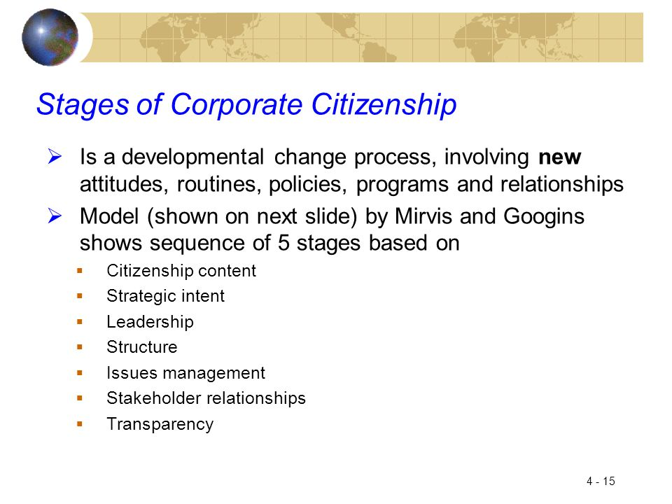 4 - 15 Stages of Corporate Citizenship  Is a developmental change process, involving new attitudes, routines, policies, programs and relationships  Model (shown on next slide) by Mirvis and Googins shows sequence of 5 stages based on  Citizenship content  Strategic intent  Leadership  Structure  Issues management  Stakeholder relationships  Transparency