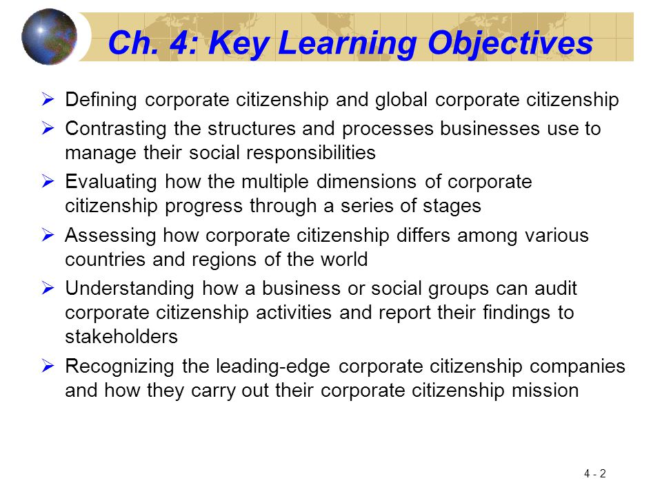 Ch. 4: Key Learning Objectives  Defining corporate citizenship and global corporate citizenship  Contrasting the structures and processes businesses