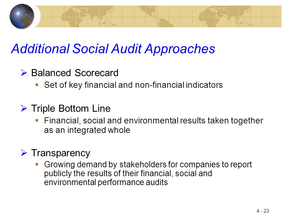 4 - 23 Additional Social Audit Approaches  Balanced Scorecard  Set of key financial and non-financial indicators  Triple Bottom Line  Financial, social and environmental results taken together as an integrated whole  Transparency  Growing demand by stakeholders for companies to report publicly the results of their financial, social and environmental performance audits