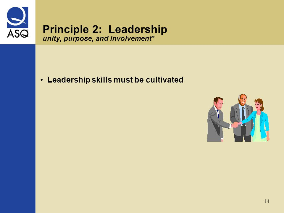 14 Principle 2: Leadership unity, purpose, and involvement* Leadership skills must be cultivated
