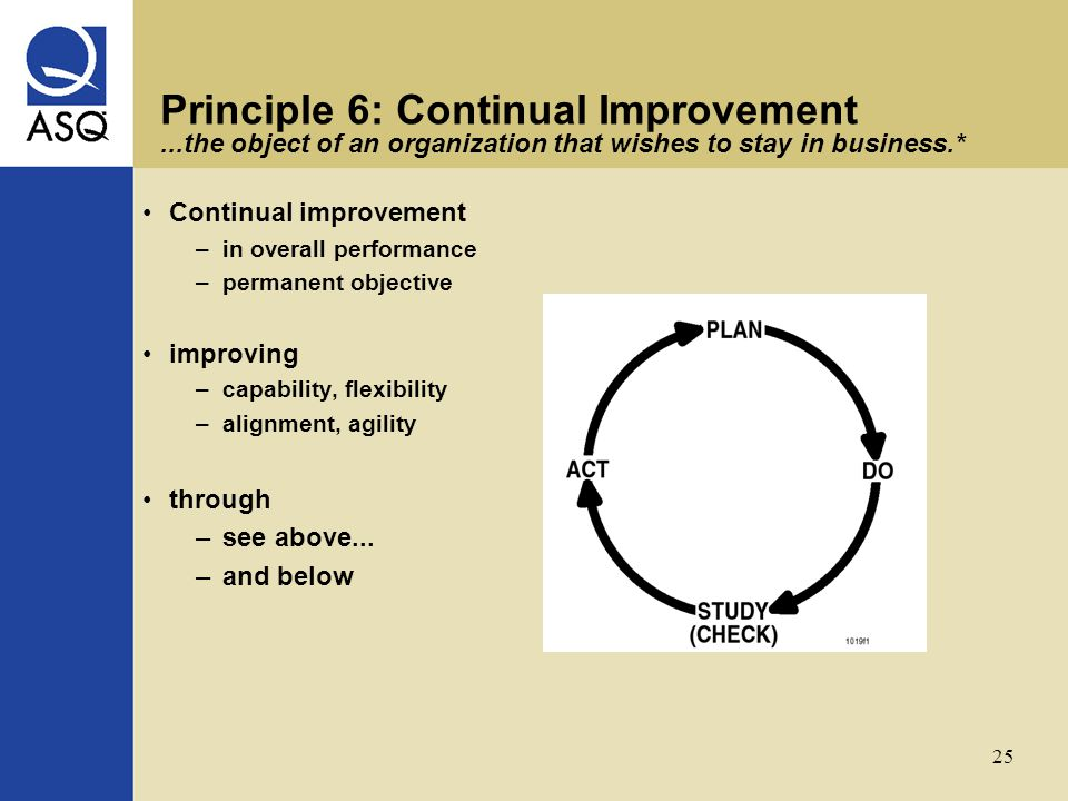 25 Principle 6: Continual Improvement...the object of an organization that wishes to stay in business.* Continual improvement –in overall performance –permanent objective improving –capability, flexibility –alignment, agility through –see above...