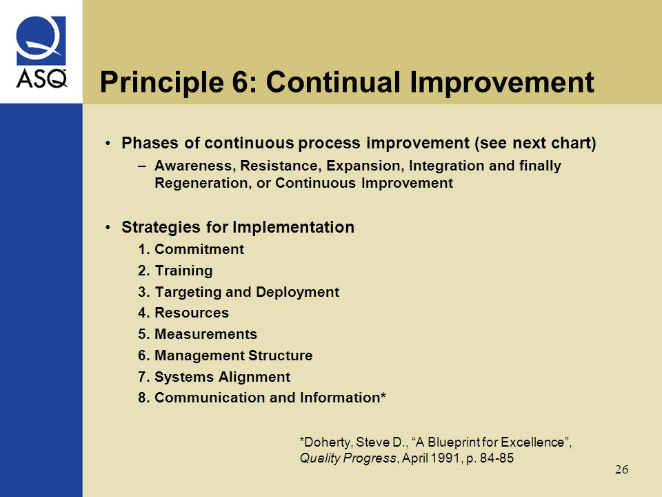 26 Principle 6: Continual Improvement Phases of continuous process improvement (see next chart) –Awareness, Resistance, Expansion, Integration and finally Regeneration, or Continuous Improvement Strategies for Implementation 1.