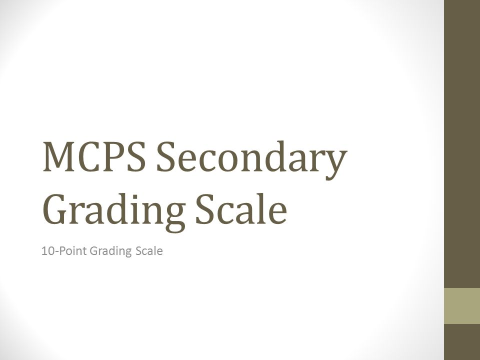 MCPS Secondary Grading Scale 10-Point Grading Scale