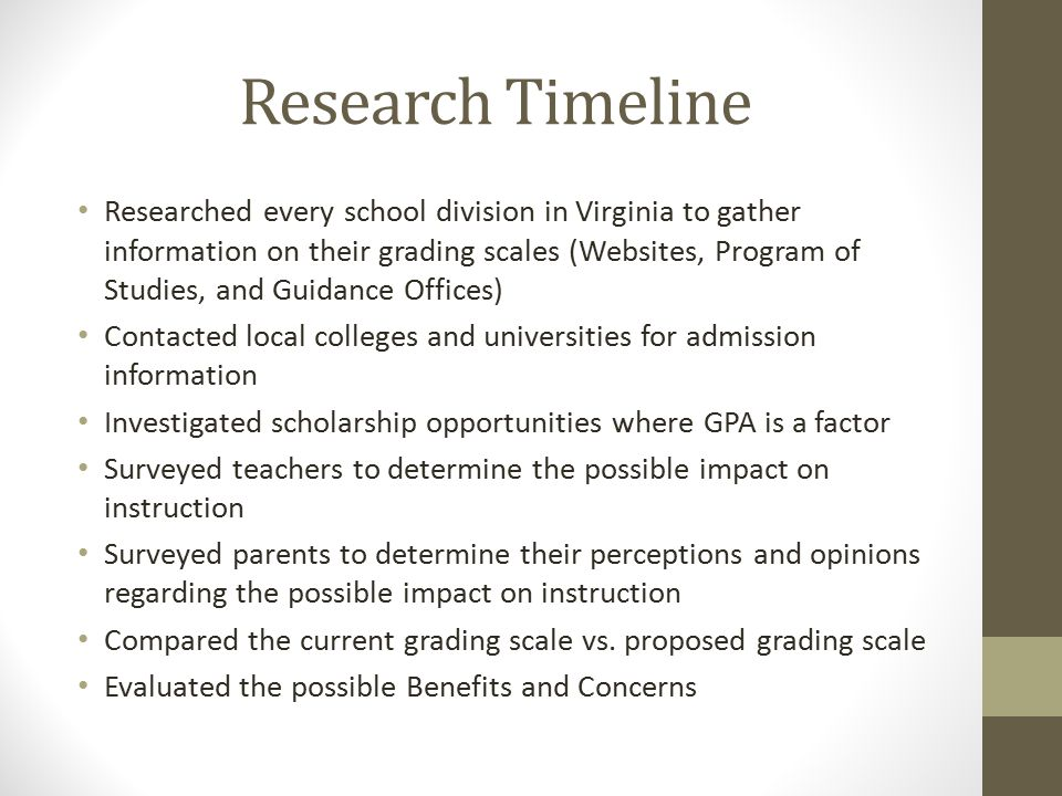 Research Timeline Researched every school division in Virginia to gather information on their grading scales (Websites, Program of Studies, and Guidance Offices) Contacted local colleges and universities for admission information Investigated scholarship opportunities where GPA is a factor Surveyed teachers to determine the possible impact on instruction Surveyed parents to determine their perceptions and opinions regarding the possible impact on instruction Compared the current grading scale vs.