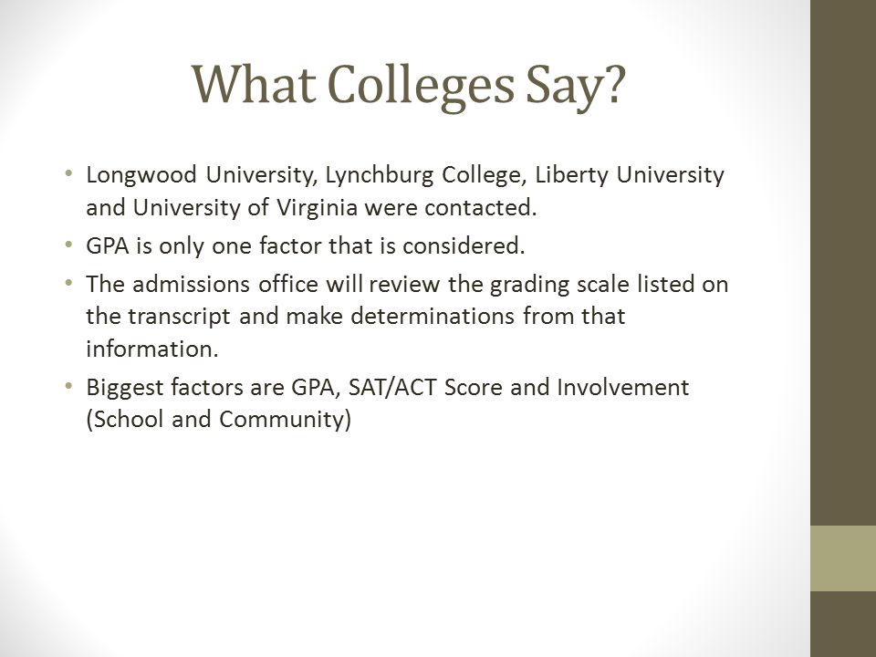 What Colleges Say.