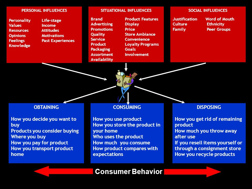 OBTAINING How you decide you want to buy Products you consider buying Where you buy How you pay for product How you transport product home CONSUMING How you use product How you store the product in your home Who uses the product How much you consume How product compares with expectations DISPOSING How you get rid of remaining product How much you throw away after use If you resell items yourself or through a consignment store How you recycle products PERSONAL INFLUENCES Personality Life-stage Values Income Resources Attitudes Opinions Motivations Feelings Past Experiences Knowledge SITUATIONAL INFLUENCES Brand Product Features Advertising Display Promotions Price Quality Store Ambiance Service Convenience Product Loyalty Programs Packaging Goals Assortment Involvement Availability Consumer Behavior SOCIAL INFLUENCES Justification Word of Mouth Culture Ethnicity Family Peer Groups
