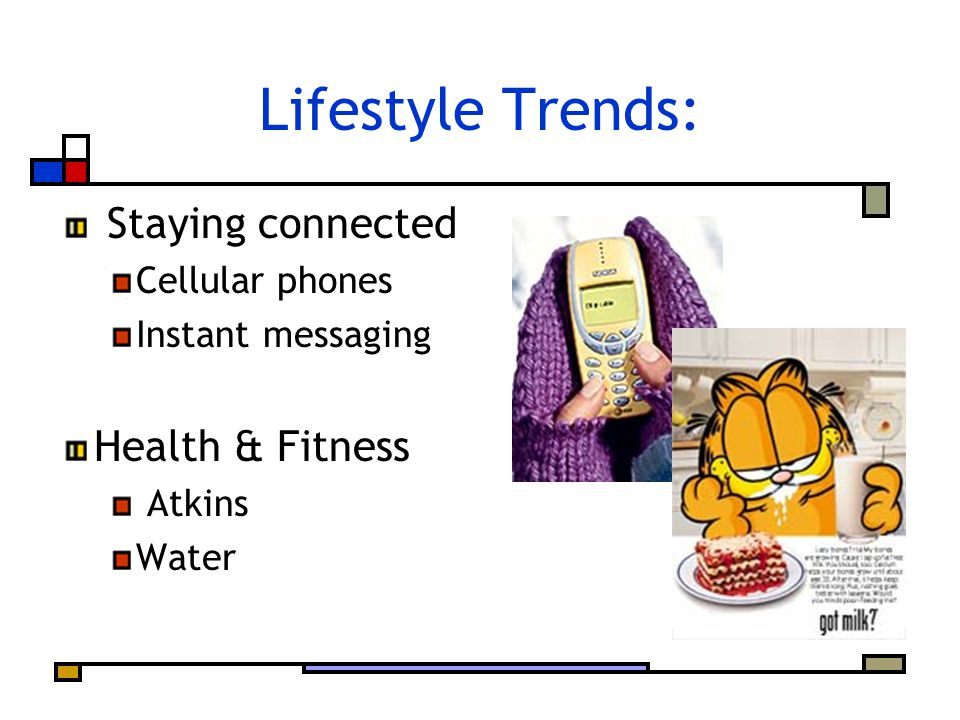 Lifestyle Trends: Staying connected Cellular phones Instant messaging Health & Fitness Atkins Water
