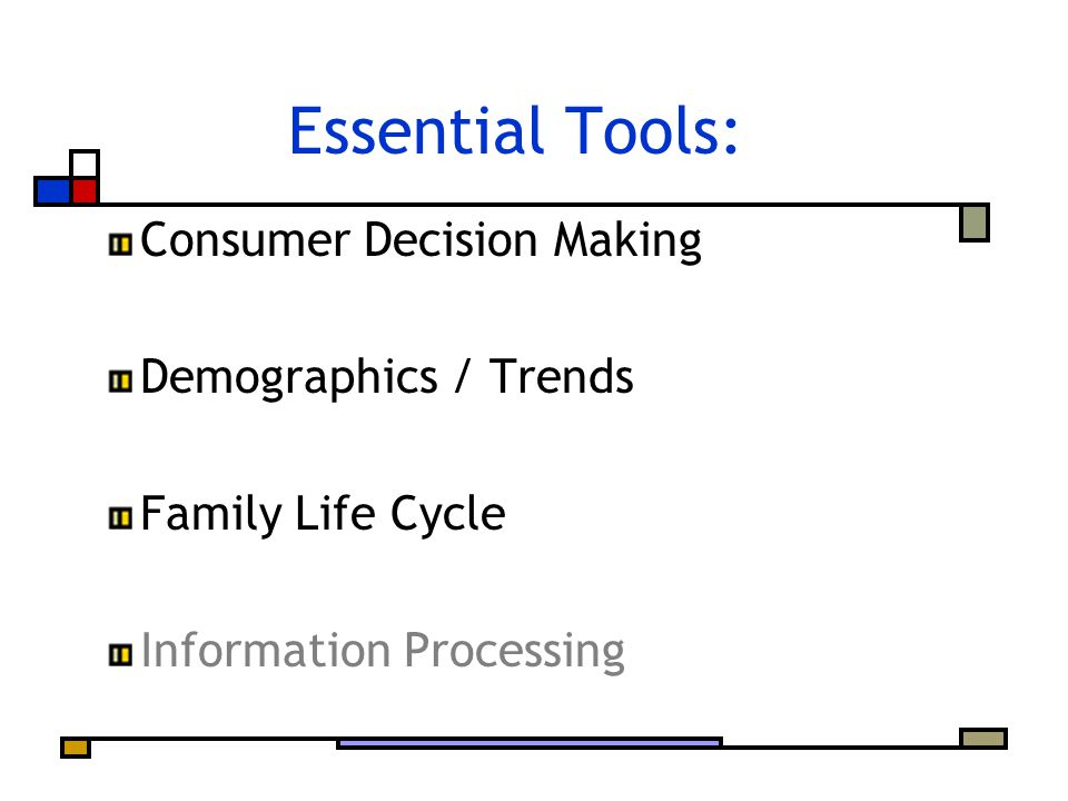Essential Tools: Consumer Decision Making Demographics / Trends Family Life Cycle Information Processing