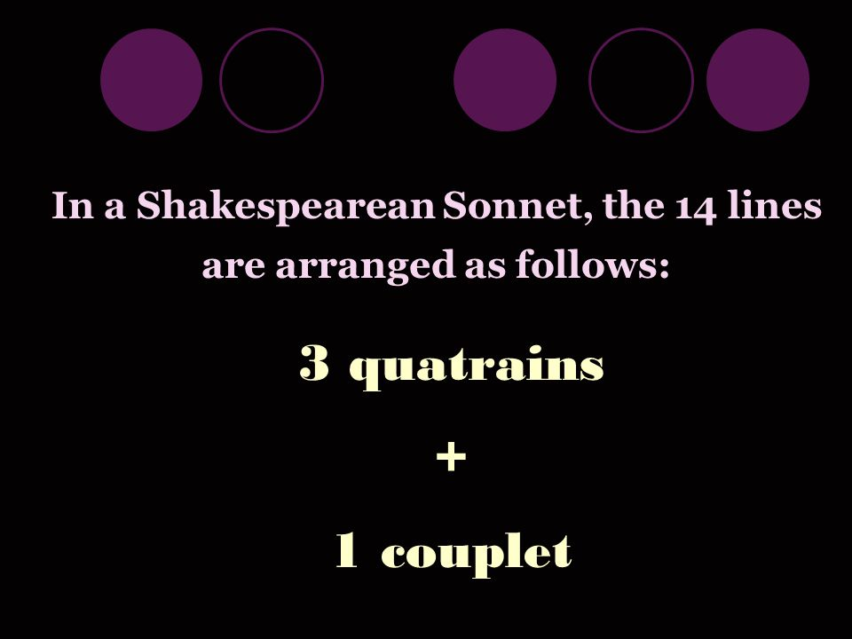In a Shakespearean Sonnet, the 14 lines are arranged as follows: 3 quatrains + 1 couplet