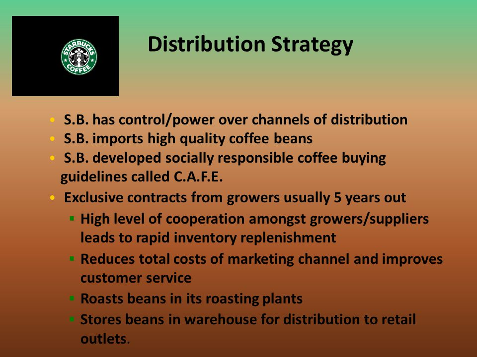 Distribution Strategy S.B. has control/power over channels of distribution S.B. imports high quality coffee beans S.B. developed socially responsible