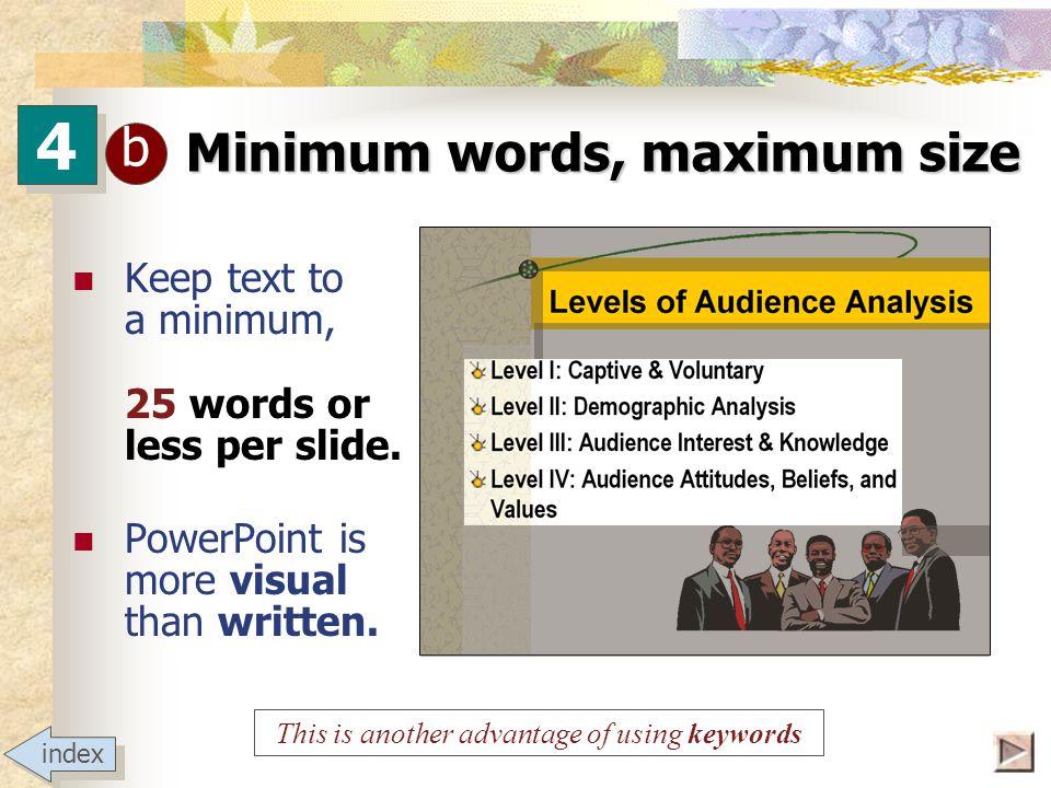 4 4 b Minimum words, maximum size Try to keep titles 44 pts.