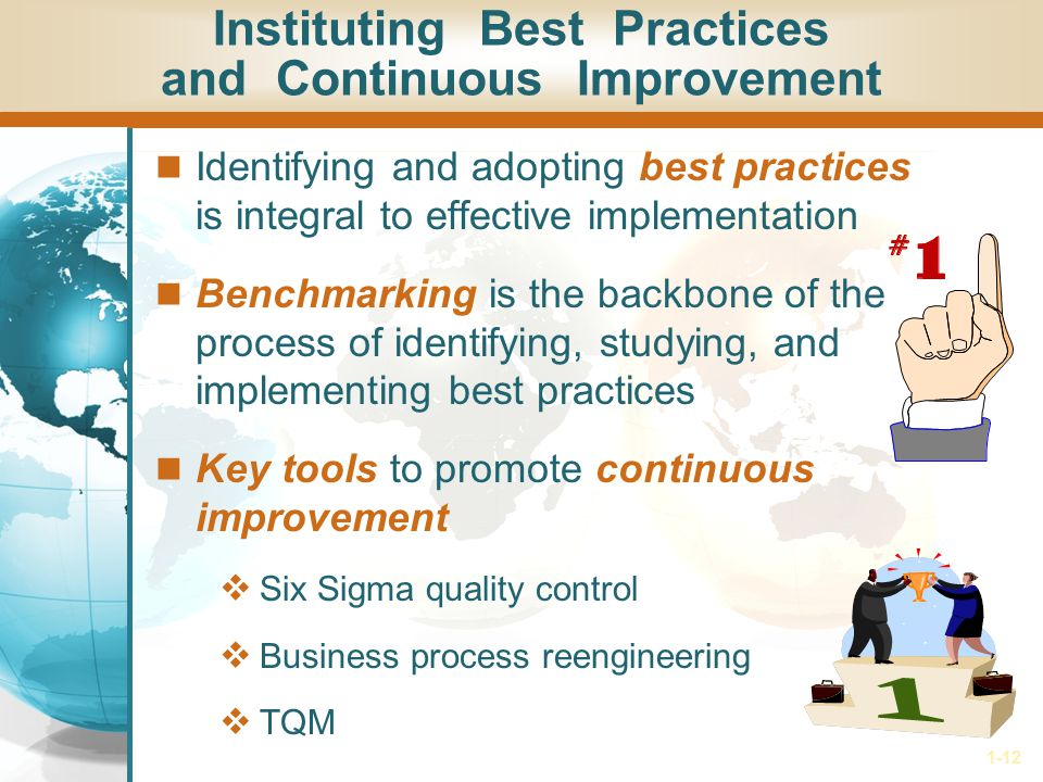 1-12 Instituting Best Practices and Continuous Improvement Identifying and adopting best practices is integral to effective implementation Benchmarkin