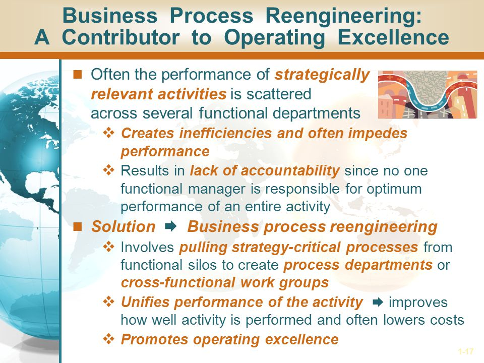 1-17 Business Process Reengineering: A Contributor to Operating Excellence Often the performance of strategically relevant activities is scattered acr
