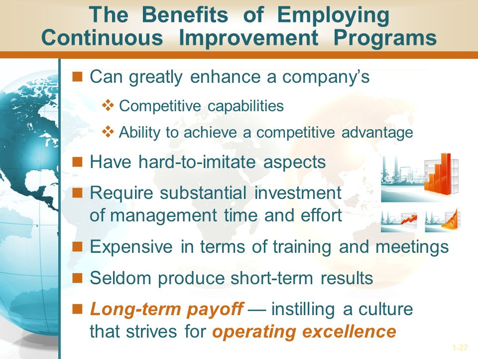 1-27 The Benefits of Employing Continuous Improvement Programs Can greatly enhance a company's  Competitive capabilities  Ability to achieve a compe