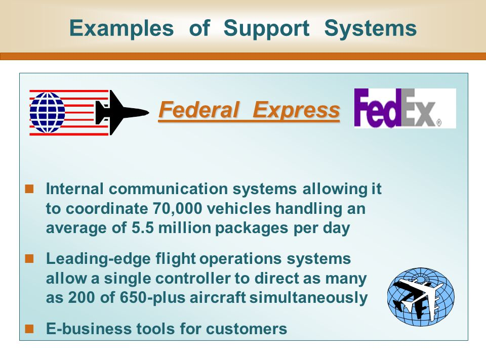 Examples of Support Systems Internal communication systems allowing it to coordinate 70,000 vehicles handling an average of 5.5 million packages per d