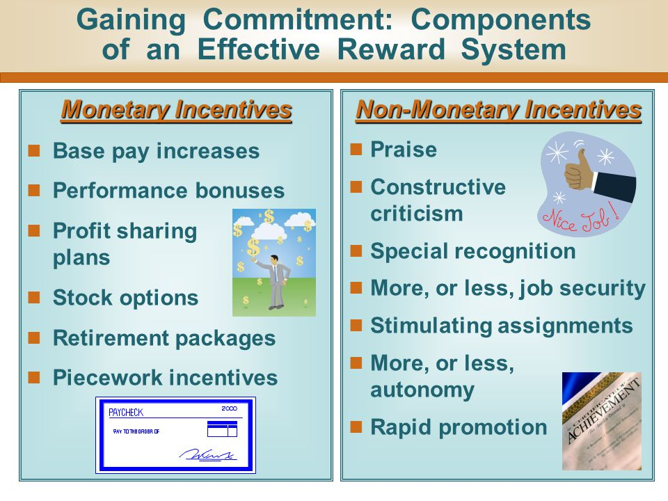 Gaining Commitment: Components of an Effective Reward System Monetary Incentives Base pay increases Performance bonuses Profit sharing plans Stock opt