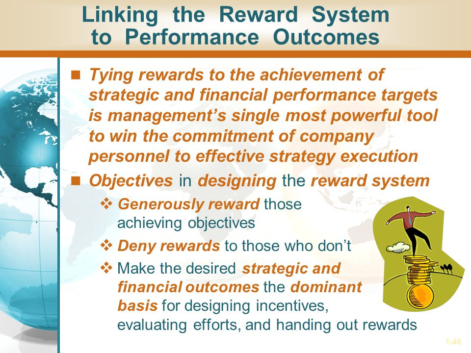 1-46 Tying rewards to the achievement of strategic and financial performance targets is management's single most powerful tool to win the commitment o