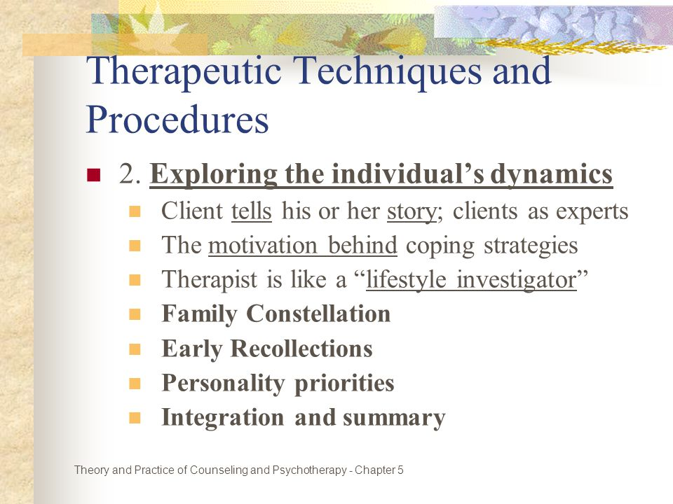 Therapeutic Techniques and Procedures 2.