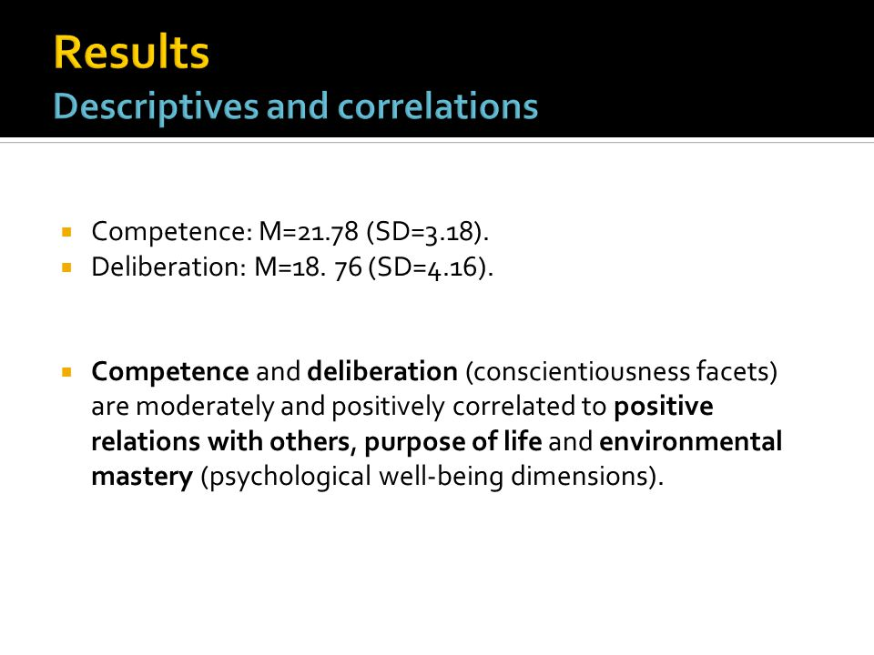  Competence: M=21.78 (SD=3.18).  Deliberation: M=18.