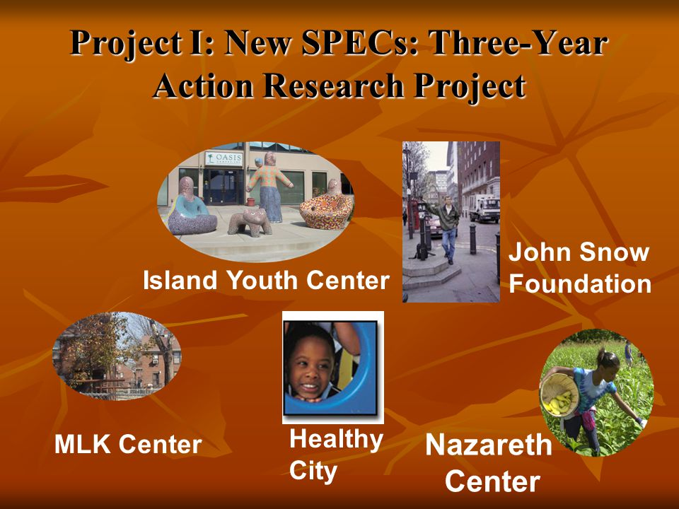 Project I: New SPECs: Three-Year Action Research Project Island Youth Center Nazareth Center Healthy City John Snow Foundation MLK Center
