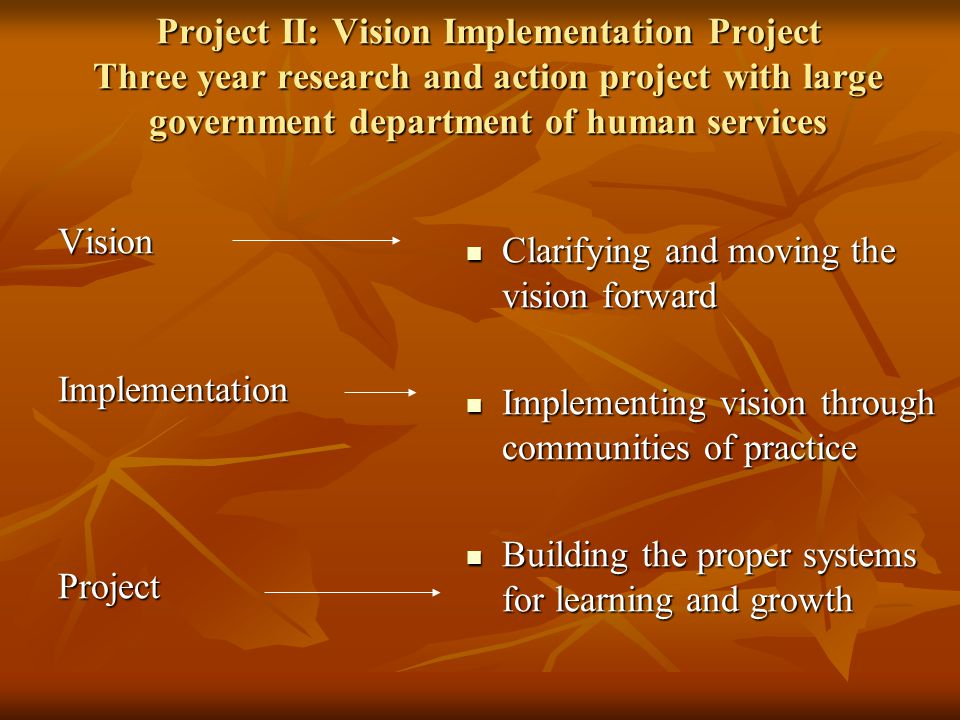 Project II: Vision Implementation Project Three year research and action project with large government department of human services VisionImplementationProject Clarifying and moving the vision forward Clarifying and moving the vision forward Implementing vision through communities of practice Implementing vision through communities of practice Building the proper systems for learning and growth Building the proper systems for learning and growth