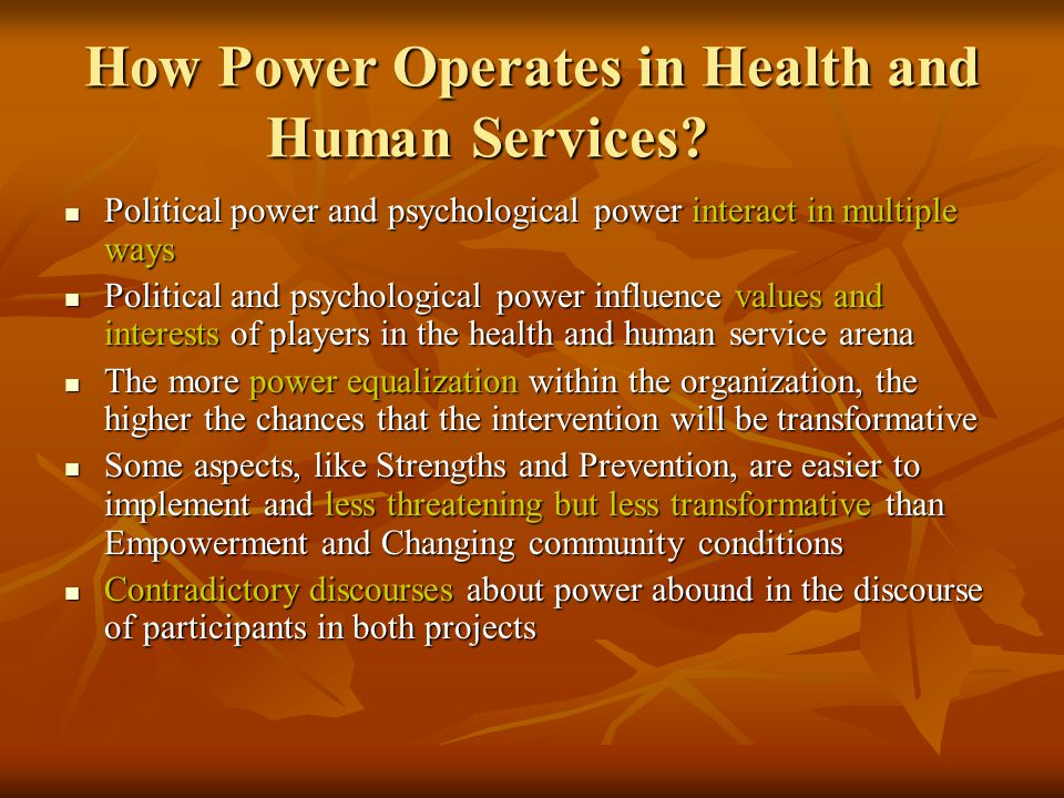 How Power Operates in Health and Human Services.