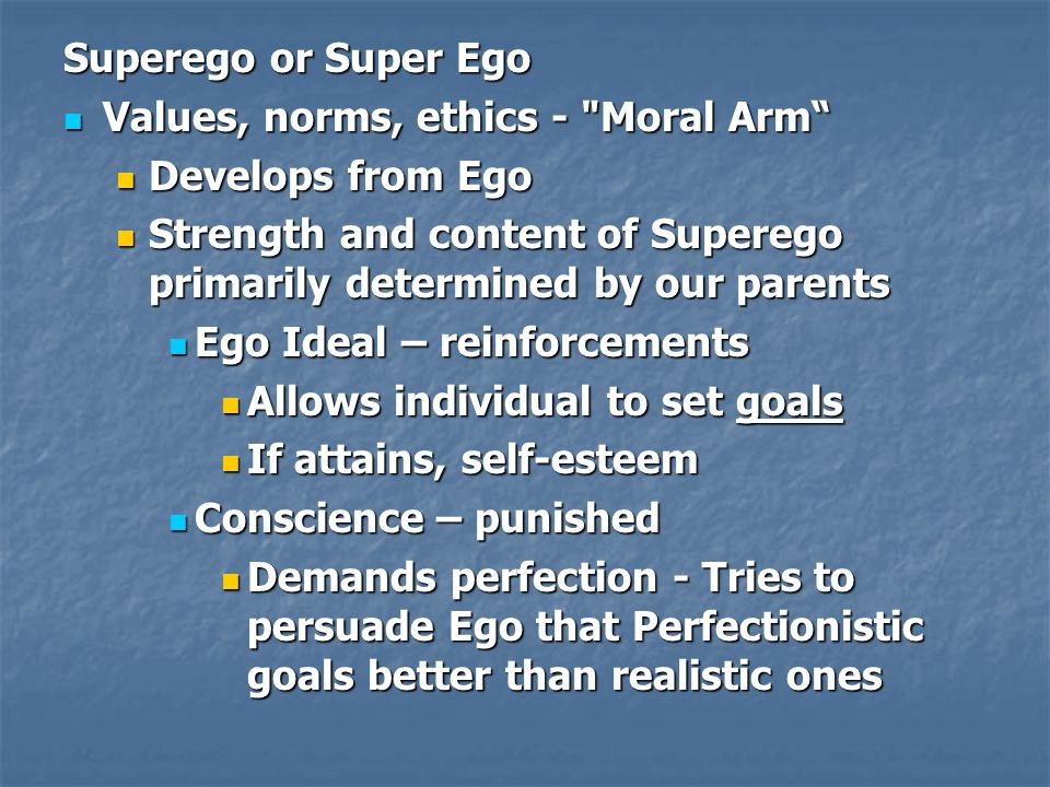 Superego or Super Ego Values, norms, ethics -