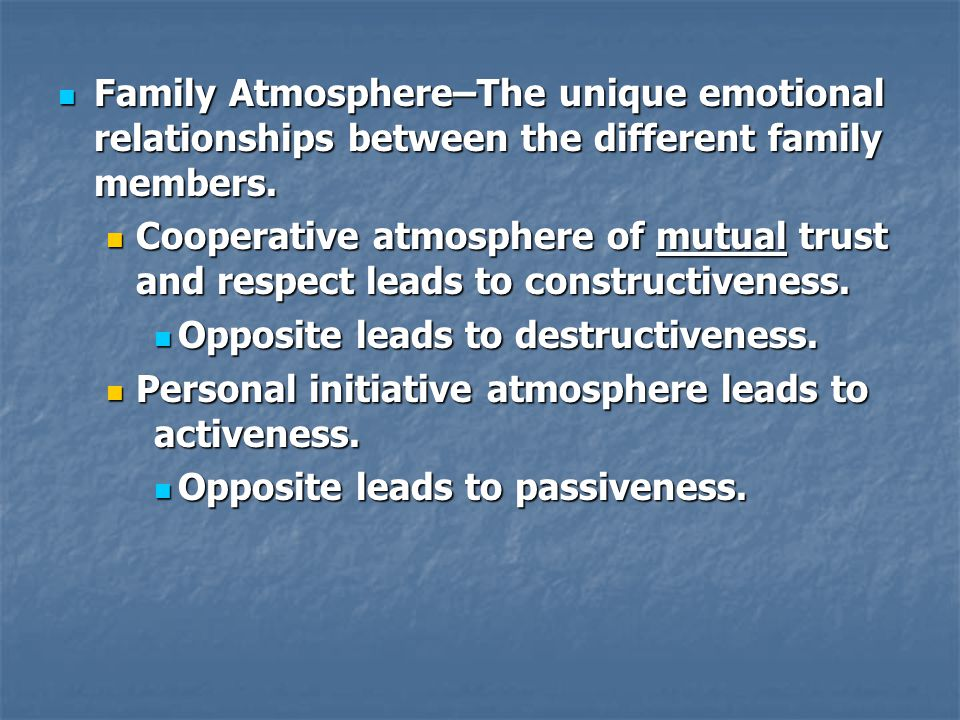 Family Atmosphere–The unique emotional relationships between the different family members. Family Atmosphere–The unique emotional relationships betwee