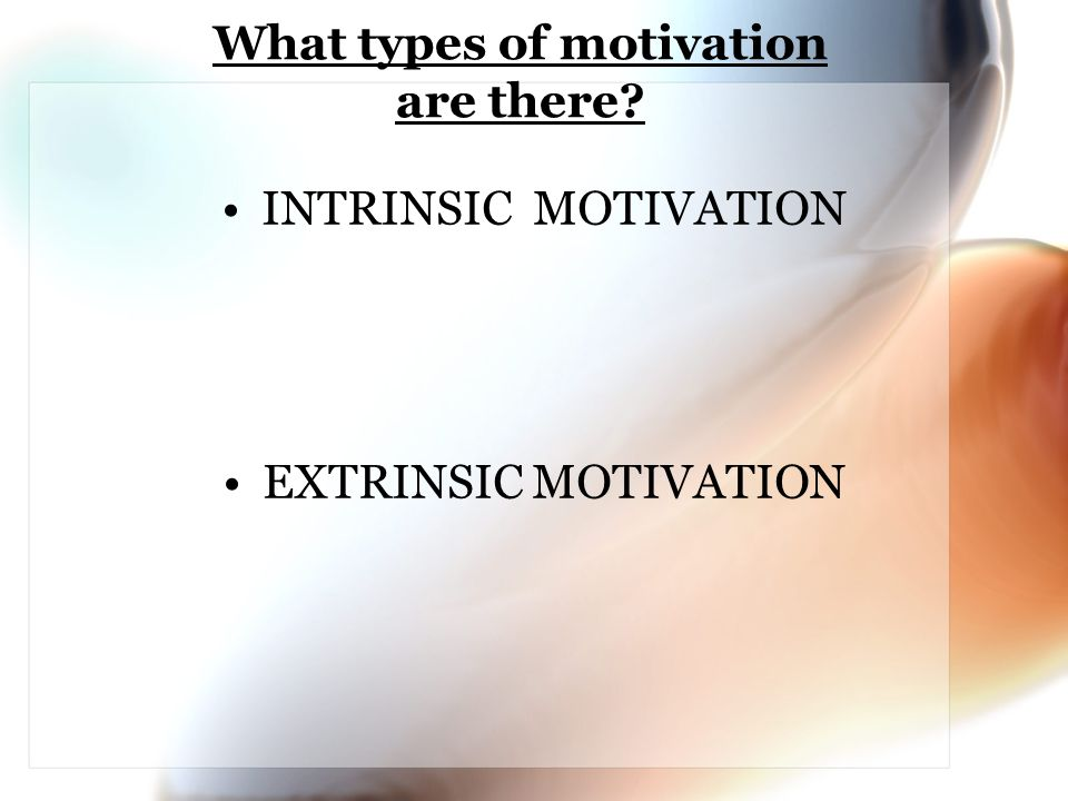 What types of motivation are there? INTRINSIC MOTIVATION EXTRINSIC MOTIVATION