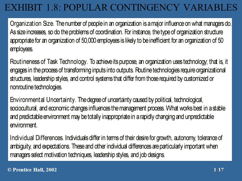 EXHIBIT 1.8: POPULAR CONTINGENCY VARIABLES © Prentice Hall, 20021-17