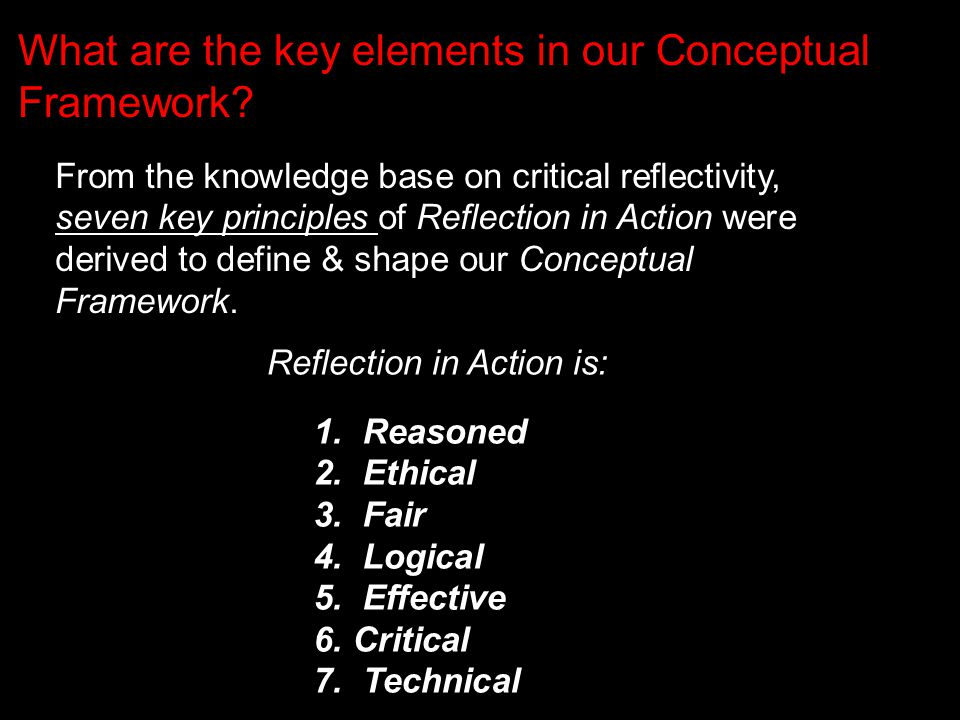 From the knowledge base on critical reflectivity, seven key principles of Reflection in Action were derived to define & shape our Conceptual Framework.
