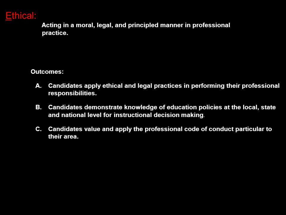 Ethical: Acting in a moral, legal, and principled manner in professional practice.