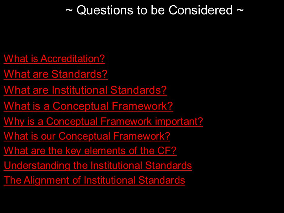 What is Accreditation. What are Standards. What are Institutional Standards.