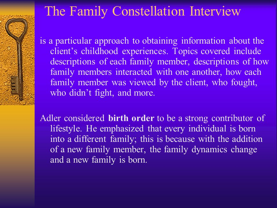 The Family Constellation Interview is a particular approach to obtaining information about the client's childhood experiences. Topics covered include
