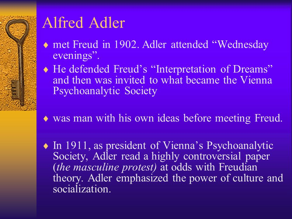 """Alfred Adler  met Freud in 1902. Adler attended """"Wednesday evenings"""".  He defended Freud's """"Interpretation of Dreams"""" and then was invited to what b"""