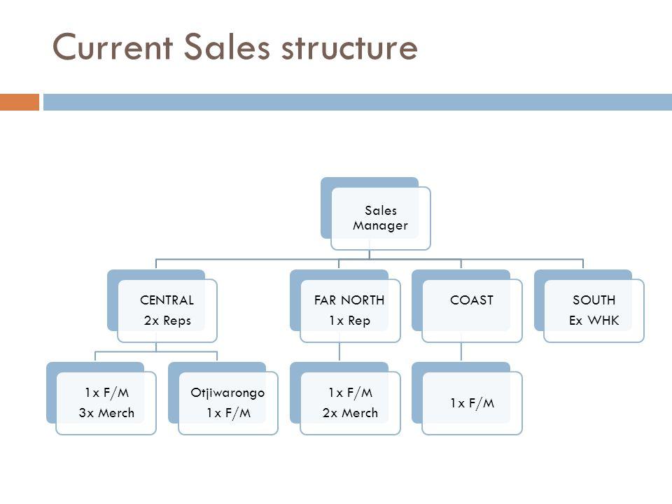 Current Sales structure Sales Manager CENTRAL 2x Reps 1x F/M 3x Merch Otjiwarongo 1x F/M FAR NORTH 1x Rep 1x F/M 2x Merch COAST 1x F/M SOUTH Ex WHK