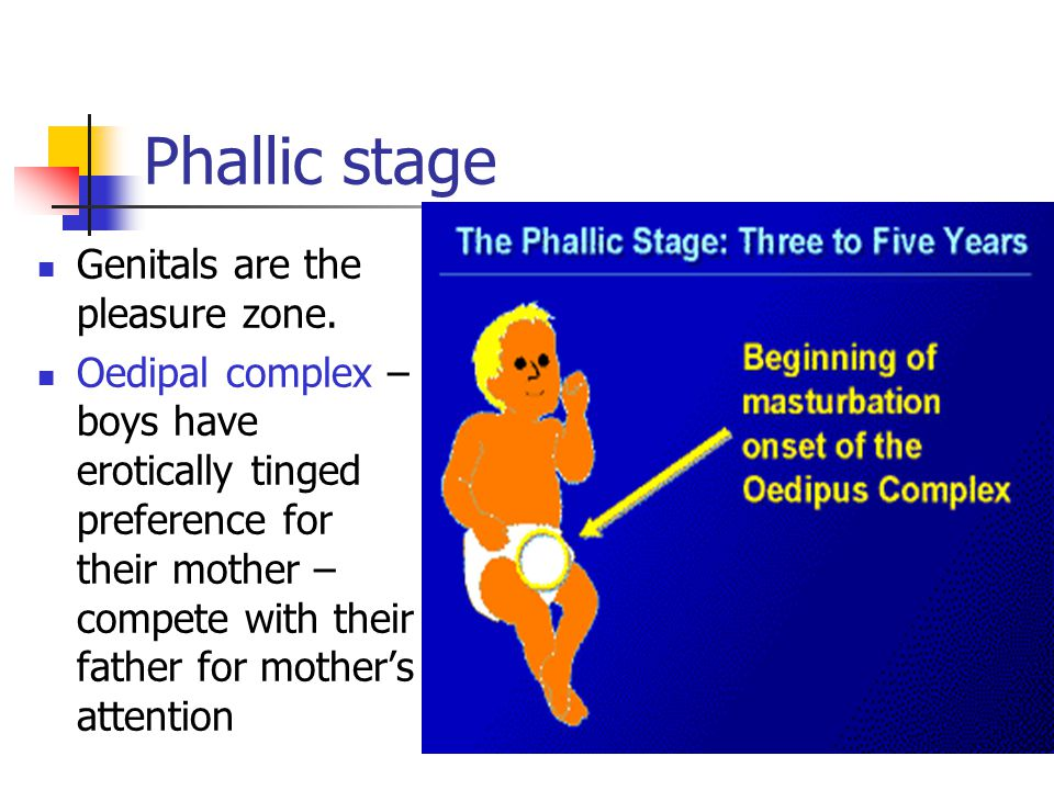 Phallic stage Genitals are the pleasure zone. Oedipal complex – boys have erotically tinged preference for their mother – compete with their father fo
