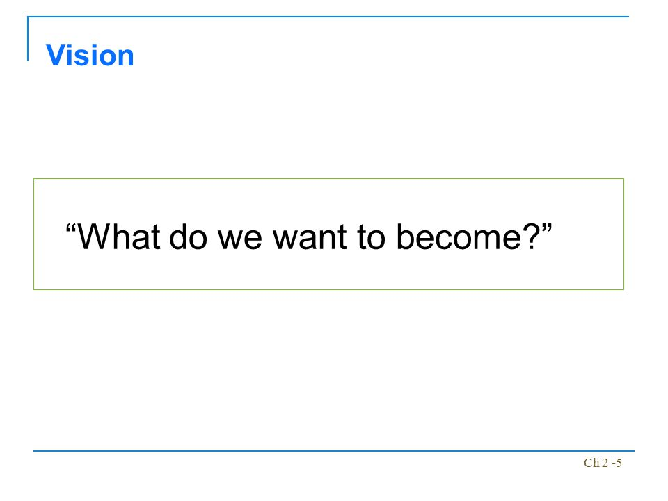 """Ch 2 -5 """"What do we want to become?"""" Vision"""