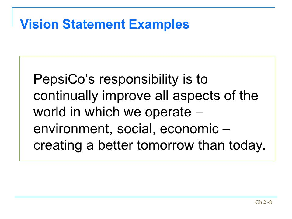 Ch 2 -8 PepsiCo's responsibility is to continually improve all aspects of the world in which we operate – environment, social, economic – creating a b