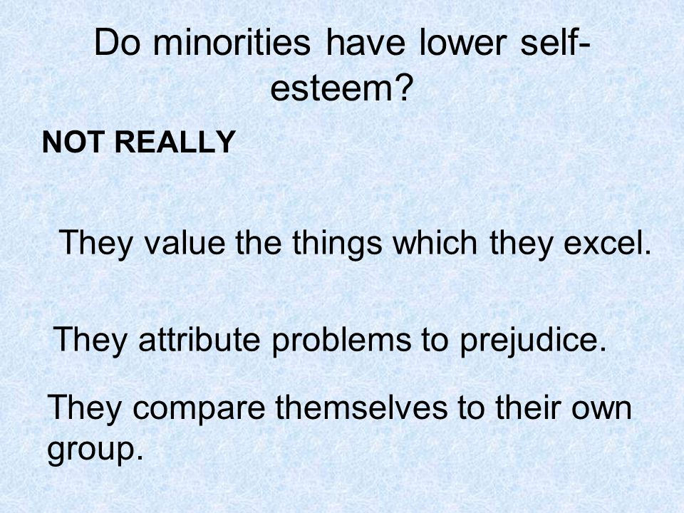 Do minorities have lower self- esteem. NOT REALLY They value the things which they excel.