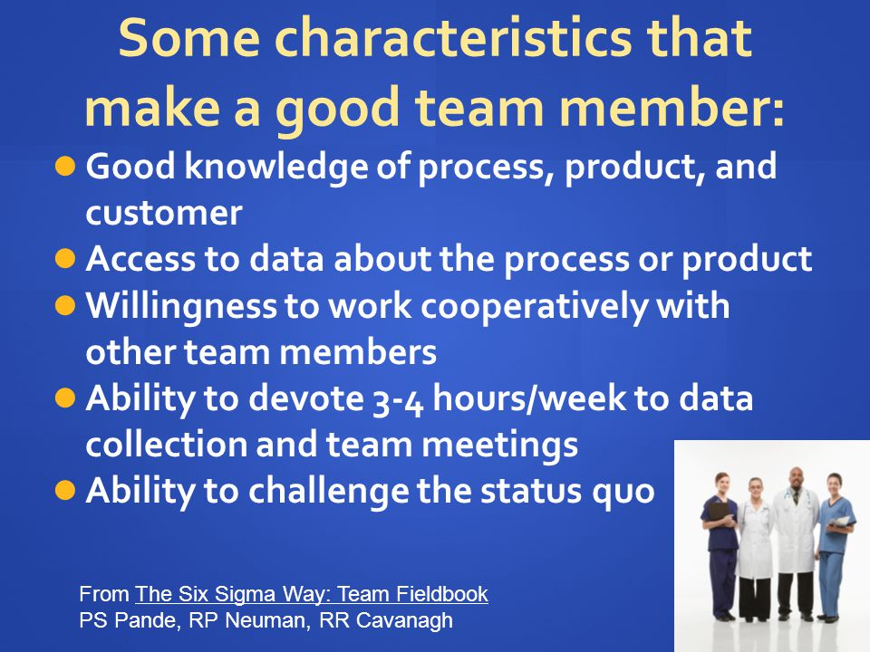 Summary QI teams should include 5-6 people familiar with different parts of the problem plus an executive sponsor.